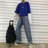 新款ins同款復古百搭寬鬆老爹褲闊腿牛仔褲男女學生長褲-可卡衣櫃