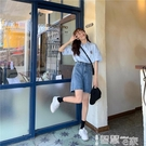五分褲 短褲女2021年夏季新款寬鬆學生高腰顯瘦直筒闊腿休閒五分褲牛仔褲 【99免運】