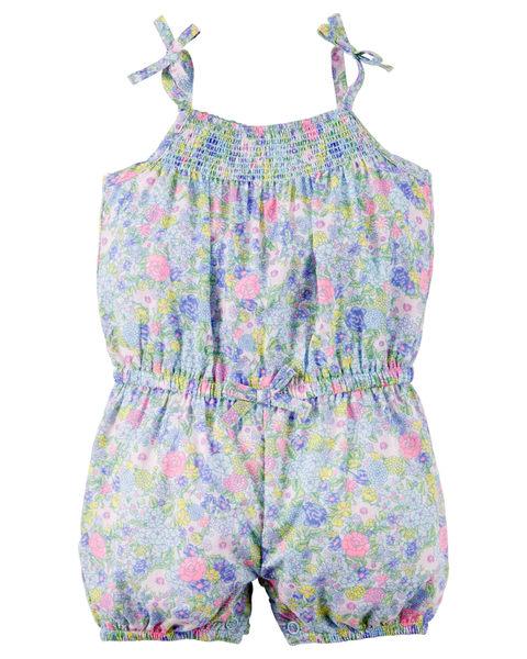 【美國Carter's】純棉連身衣- 粉嫩小藍碎花無袖純棉連身衣 118G311