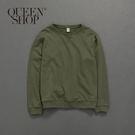 Queen Shop【01110369】領叉字車線設計大學T 兩色售 1/2/3/4*現+預*