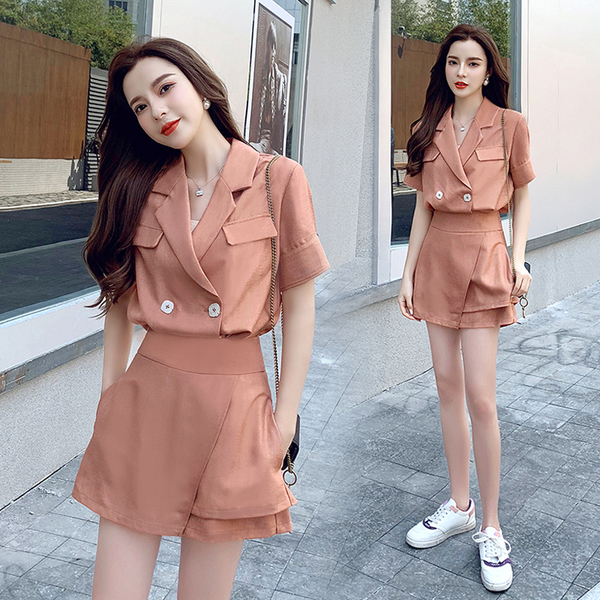 VK旗艦店 韓國風西裝領純色雙釦襯衫裙褲套裝短袖褲裝