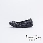 大尺碼女鞋-夢想店-MIT台灣製簡約素面雙結款牛皮蛋捲平底鞋2.5cm(41-45)-黑色【PW2019】