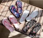拖鞋羅敷人字拖女海邊度假沙灘鞋夏INS可愛平底防滑外穿夾腳拖鞋 莫妮卡小屋
