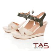 TAS寬版縫線繫帶楔型涼鞋-氣質米