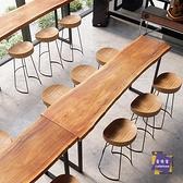 吧台椅 吧台桌實木組合原木實木酒吧台桌椅靠牆復古長條陽台高架休閒窄桌T