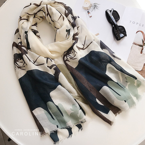 《Caroline》★ 本年度新款秋冬百搭仿羊絨披肩  質地細膩舒適柔軟兩用圍巾71740