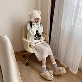 細細條 可愛卡通毛毛拖鞋女冬季保暖居家室內少女心棉拖鞋半包跟 優拓