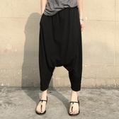 飛鼠褲休閒褲子寬鬆大碼顯瘦莫代爾棉九分褲哈倫褲大襠褲小腳垮褲新款女 韓國時尚週