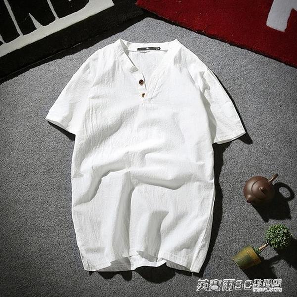 夏季薄款亞麻短袖t桖男士韓版寬鬆加大碼半袖體桖潮流棉麻上衣服 英賽爾