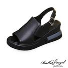 涼鞋 清新氣息不規則剪裁楔型涼鞋(黑)*BalletAngel【18-5229bk】【現+預】