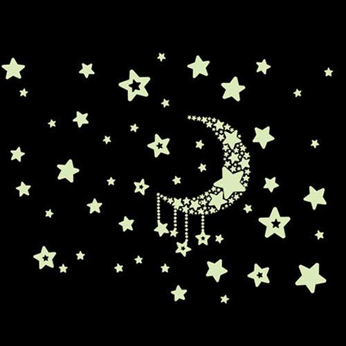 ►壁貼 夜光貼兒童卡通星星月亮螢光貼  DIY隨意貼A1007】
