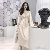 2020初秋新款韓版純色晚晚風簡約時尚百搭長袖綁帶洋裝中長裙女