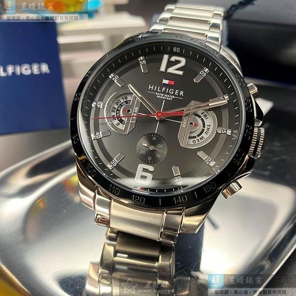 Tommy Hilfiger湯米希爾費格男錶46mm黑色錶面銀色錶帶
