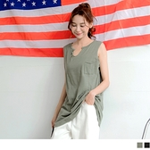 《AB12880》台灣製造.竹節紋高含棉半圓挖領無袖口袋上衣 OrangeBear