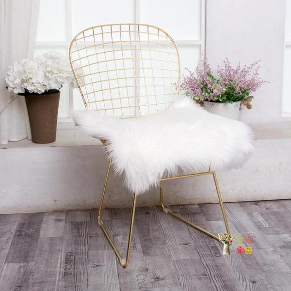 餐椅 ins網紅椅子靠背鐵藝北歐餐椅簡約梳妝化妝椅金屬金色鏤空鐵絲椅T 3色