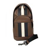 【COACH】新款直紋配色皮革男款雙層單肩背包胸前包(直紋焦糖)
