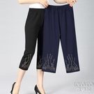 中老年女褲夏季薄款七分褲鬆緊高腰奶奶裝夏天老年人寬鬆媽媽褲子 快速出貨