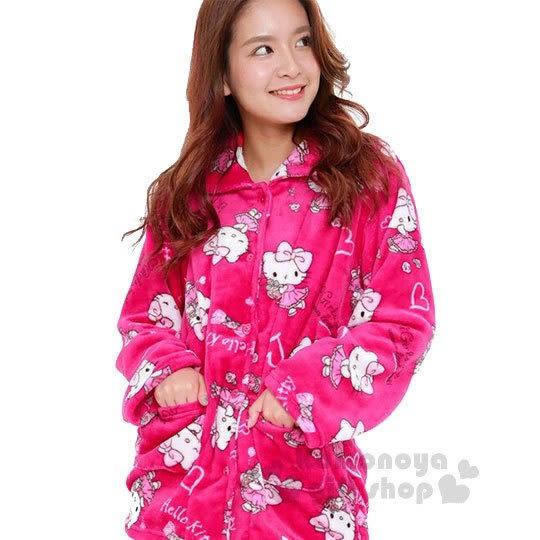 〔小禮堂〕Hello Kitty 絨布長袖居家服套裝《桃紅.玫瑰.滿版》襯衫式.睡衣 4560419-61044