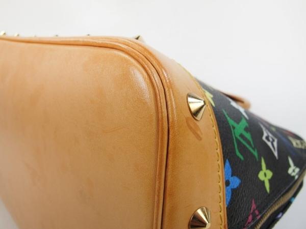 【巴黎站二手名牌專賣店】*現貨*LV 路易威登 真品*M92646 村上隆 黑彩花紋鉚釘飾邊ALMA手提包
