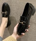紳士鞋 英倫風小皮鞋女2021新款春季學生百搭黑色一腳蹬ins粗跟中跟單鞋 伊蘿