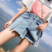 夏季新款大碼裙褲女200斤裙子寬鬆顯瘦胖mm牛仔褲裙假兩件學生潮CY潮流站