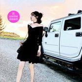 禮服春夏女裝名媛性感氣質裙子一字領露肩連身裙小黑裙短 法布蕾輕時尚
