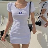 緊身洋裝性感包臀黑色連身裙女夏季蝴蝶收腰氣質緊身短裙2021新款顯瘦裙子 雲朵