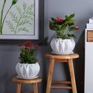 歐式創意銀裂陶瓷落地花盆家居辦公室現代工藝綠植盆栽擺件有孔 小確幸
