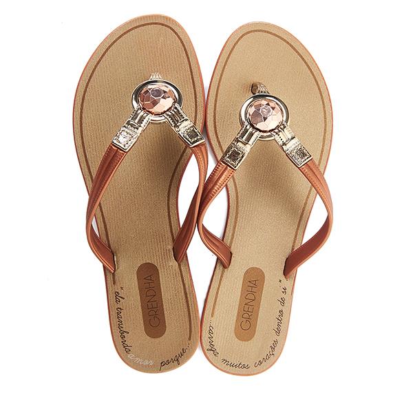 GRENDHA 耀眼奪目人字帶夾腳鞋-褐色