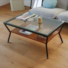 和室桌 客廳桌 桌 茶几 咖啡桌 玻璃桌 矮桌【K0061】Zona簡約玻璃咖啡桌(黑配胡桃色) 完美主義