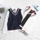 正韓寬鬆學院風針織馬甲女背心外穿毛衣學生毛線馬夾2020新款秋季 店慶降價