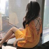 2019夏季新款性感V領鏤空露背T恤上衣寬鬆中長款短袖打底衫女裝潮 米娜小鋪