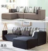 【新北大】K324-1艾瑞克黑色L型布沙發組(附輔助椅).K324-2 深灰-2019購