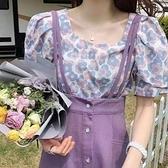 【兩件套】紫色半身裙套裝女夏洋氣減齡碎花襯衫 高腰包臀背帶裙DJB01依佳衣