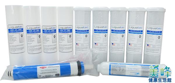 美國Liquatec 原装一年份NSF滤心11支入含美國DOW陶氏50加崙RO膜,RO機濾心/RO過濾器/RO淨水器只賣1880