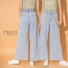 PUFII-寬褲 雙釦造型鬆緊腰花苞長寬褲牛仔褲- 0513 現+預 夏【CP20373】