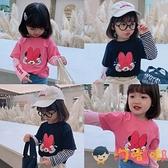 女童假兩件t恤童裝兒童長袖上衣寶寶拼接小衫【淘嘟嘟】
