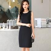 2020春秋季新款韓版無袖洋裝黑色修身顯瘦百搭打底背心裙女秋裝 蘇菲小店