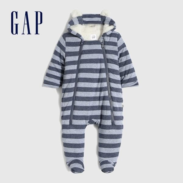 Gap嬰兒 抓絨熊耳造型連帽一體式包屁衣 599937-藍色條紋