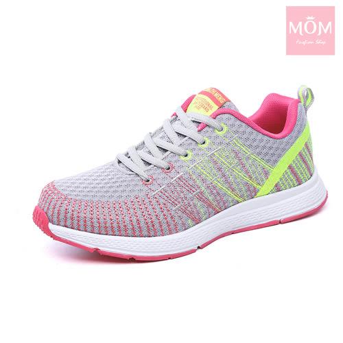 時尚彩線飛織機能大底運動鞋 灰 *MOM*