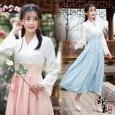 漢服古裝民族風傳統漢服日常交領襦裙齊腰假兩件連身裙 降價兩天