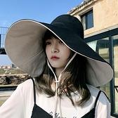 遮陽帽 超大帽檐遮臉漁夫帽女夏天紫外線遮陽帽防曬日系百搭帽子女韓版潮