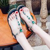 新款女鞋人字夾趾涼鞋女夏平底學生百搭韓版沙灘水鑚夾腳涼鞋 露露日記