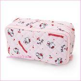 asdfkitty可愛家☆KITTY粉紅櫻桃雙層收納包/筆袋/化妝包/置物包-大容量-日本正版商品