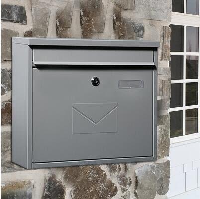 平頂款沙灰色固盾MAILBOX信箱別墅郵箱室外掛牆防雨防水快遞信報箱