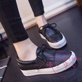 白鞋女秋季新款百搭小白鞋正韓一腳蹬樂福女鞋學生平底懶人鞋