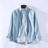 秋季新款純棉長袖休閒牛仔襯衫男柔軟舒適薄款打底工裝潮襯衣上衣-ifashion