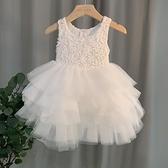女童夏裝洋裝寶寶白色蓬蓬紗裙洋氣禮服表演服小童公主裙1-5歲 幸福第一站