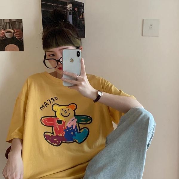 韓系女裝 Dream彩色塗鴉小熊短袖T恤【C1095】韓妞必備 百搭顯瘦基本款 阿華有事嗎