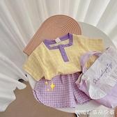 新款2021夏季1-3-6新款女童日繫純棉套頭短袖碎格紫色短褲兩件套 快速出貨
